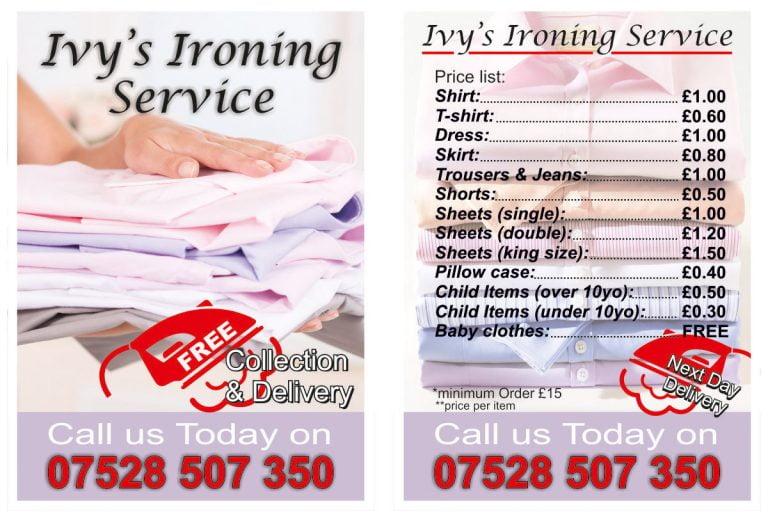 Ivy's Ironing Service Leafleat