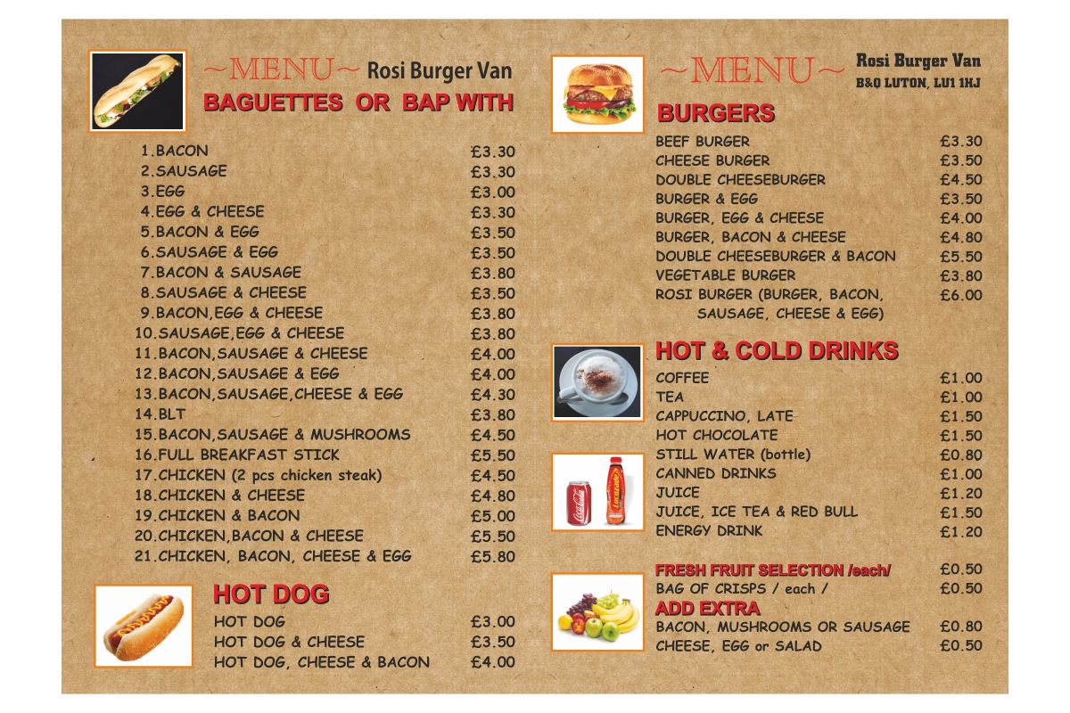 Burger Van Menu