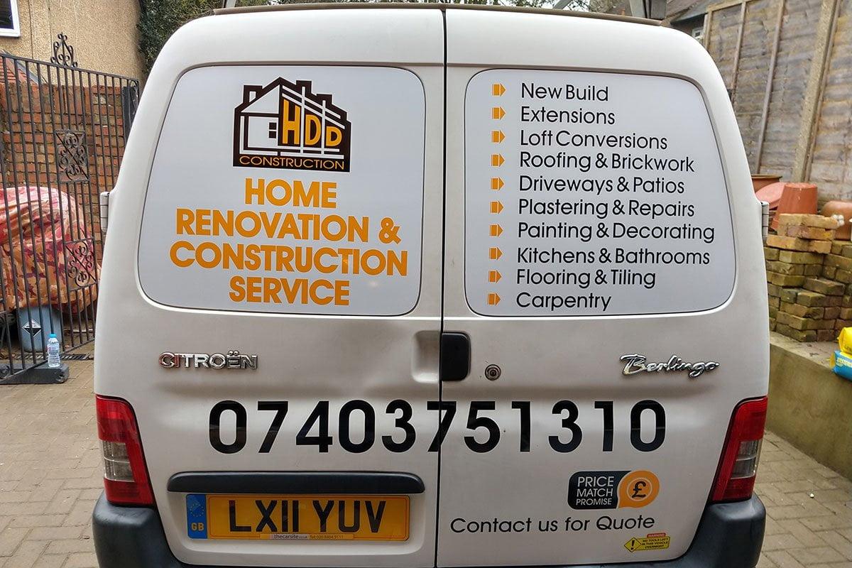 HDD Construction Van Signs