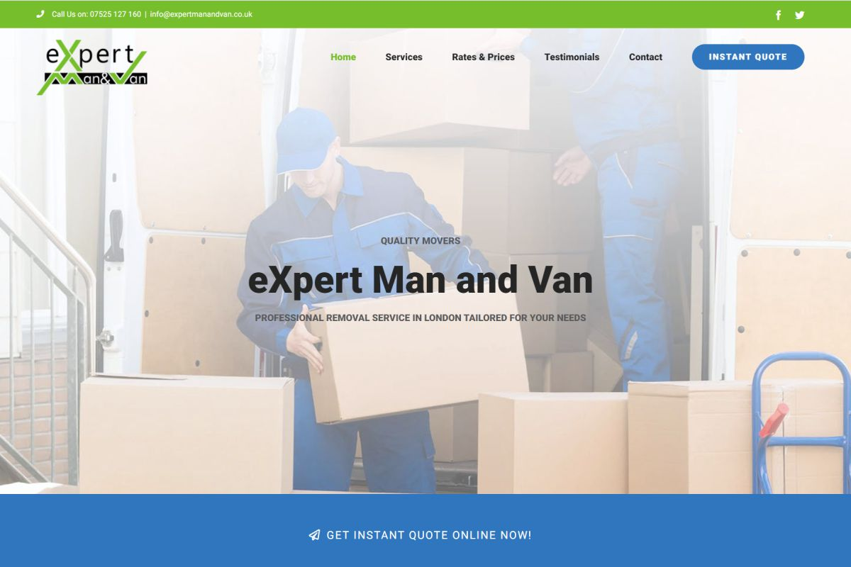 eXpert Man and Van website