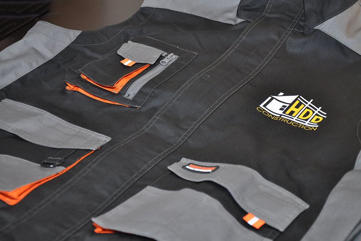 Custom Printed Workwear gilets - HDD Construction
