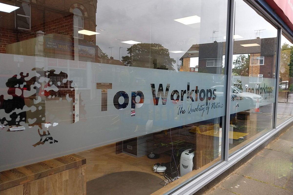 Frost vinyl shop front top worktops