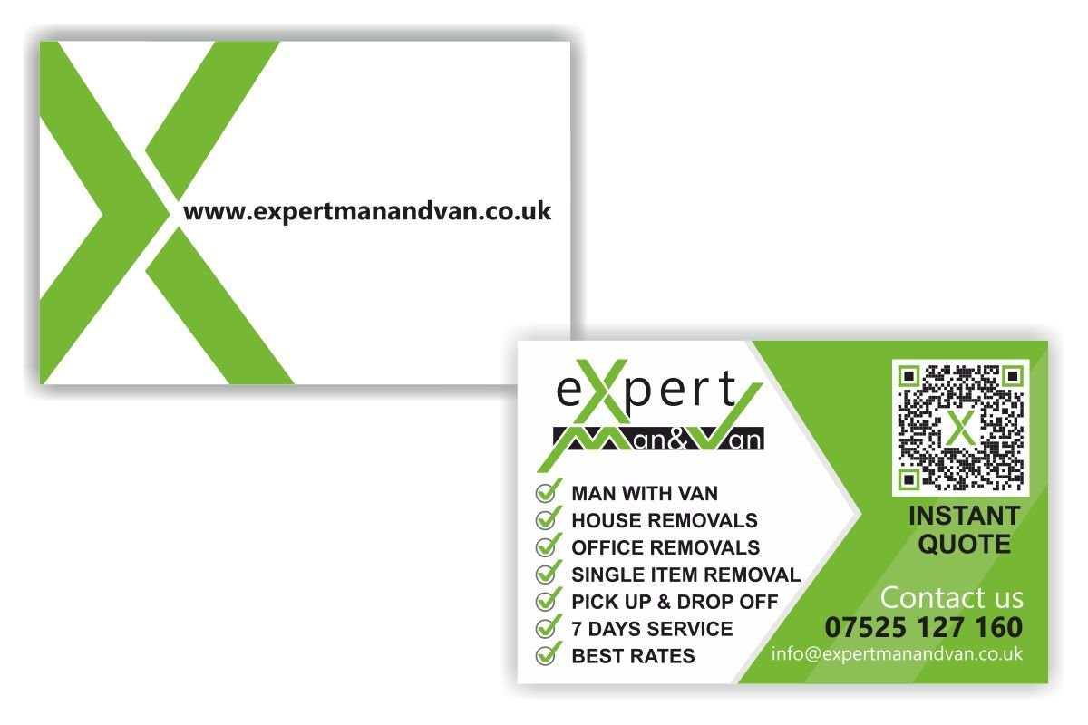 eXpert Man and Van Business Cards design and print